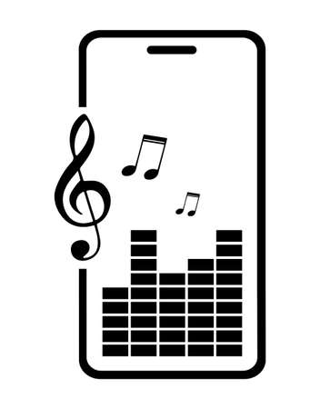 Icon. Smartphone with equalizer scale, sound volume and musical notes symbols on screen. Listening to audio on mobile device. Vector