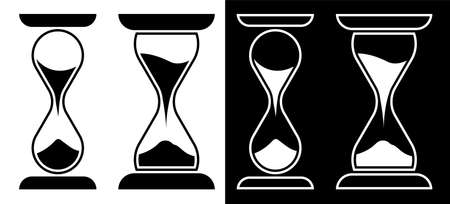 hourglass icon in glass flask on white background. Countdown. Isolated vector