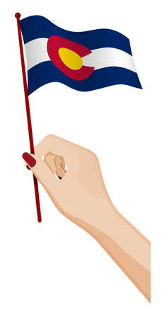 Female hand gently holds small flag of american state of Colorado. Holiday design element. Cartoon vector on white background