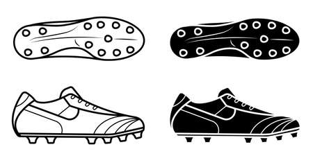pair of classic soccer, football boot, spiked sneaker icon. Isolated vector on white background Vector Illustration