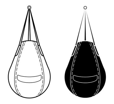 punching bag for sports training. Training boxers in gym. Black and white vector