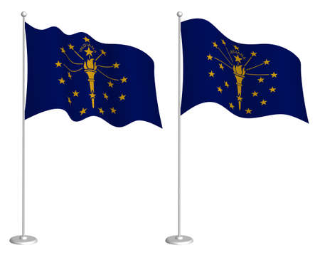 flag of american state of Indiana on flagpole waving in wind. Holiday design element. Checkpoint for map symbols. Isolated vector on white background