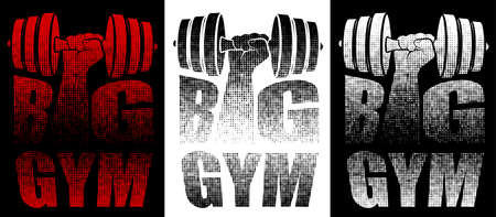 GYM or fitness emblem. Inscription with big gym name from dots with letters I in form of athlete hand with dumbbells. Design element, print for clothes. Vector