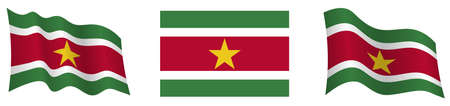 flag of Suriname in static position and in motion, fluttering in wind in exact colors and sizes, on white background