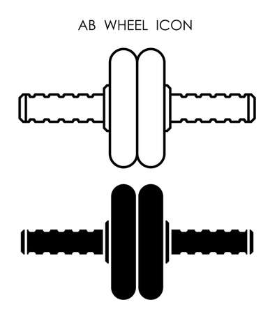 sports ab wheel for press. Healthy lifestyle, sports in gym and at home. Vector Векторная Иллюстрация