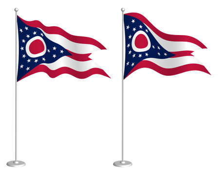 flag of american state of Ohio on flagpole waving in wind. Holiday design element. Checkpoint for map symbols. Isolated vector on white background