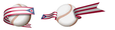 baseball sport ball in ribbons with colors of american state of Ohio. Design element for sport competitions. American national sport. Isolated vector on white background