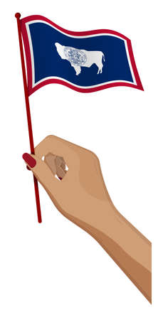 Female hand gently holds small flag of american state of Wyoming. Holiday design element. Cartoon vector on white background
