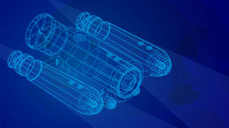 autonomous underwater robot drone for seabed exploration and deep sea video filming in wireframe low poly mesh on blue underwater background. 3d vector