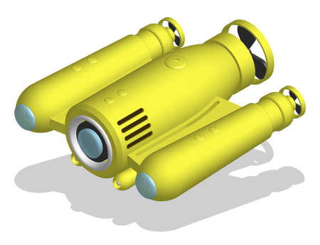 autonomous underwater robot drone for seabed exploration and deep sea video filming. 3d vector