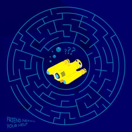 Children games. Round maze, labyrinth. Underwater adventures. Yellow exploration underwater robot is lost in maze. Vector
