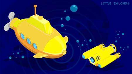 submarine and autonomous underwater robot drone conduct research and video filming of the seabed. Vector in cartoon style