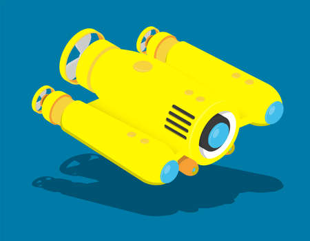 yellow autonomous underwater robot drone for seabed exploration and deep sea video filming. Cartoon vector
