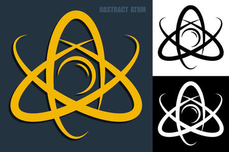 Abstract atom icon. Electrons revolve around proton in orbits. Nuclear power. Vector Vektorgrafik