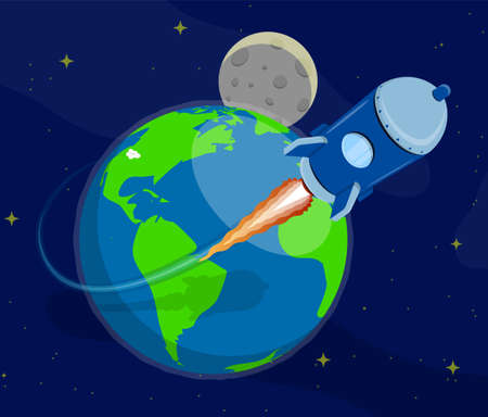 Rocket flying from planet earth into open space to stars. Flights to Mars, Moon and planets of solar system. Cartoon vector