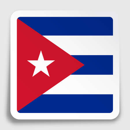 Cuba flag icon on paper square sticker with shadow. Button for mobile application or web. Vector