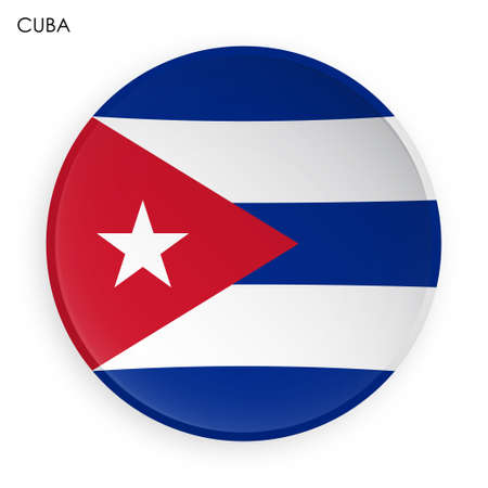 Cuba flag icon in modern neomorphism style. Button for mobile application or web. Vector on white background