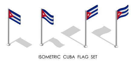 isometric flag of Cuba in static position and in motion on flagpole. 3d vector