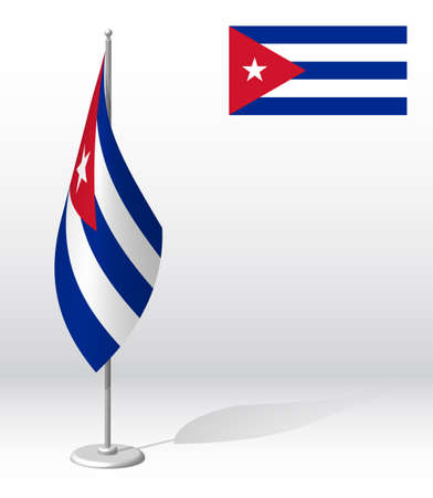 Cuba flag on flagpole for registration of solemn event, meeting foreign guests. National independence day of Cuba. Realistic 3D vector on white Ilustrace