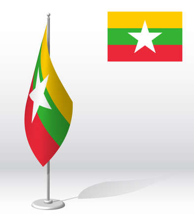 MYANMAR flag on flagpole for registration of solemn event, meeting foreign guests. National independence day of MYANMAR. Realistic 3D vector on white