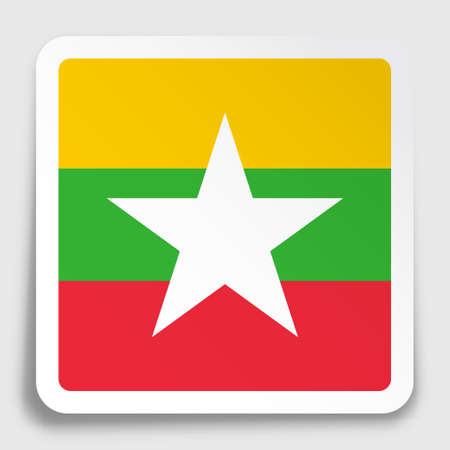 MYANMAR flag icon on paper square sticker with shadow. Button for mobile application or web. Vector Ilustrace