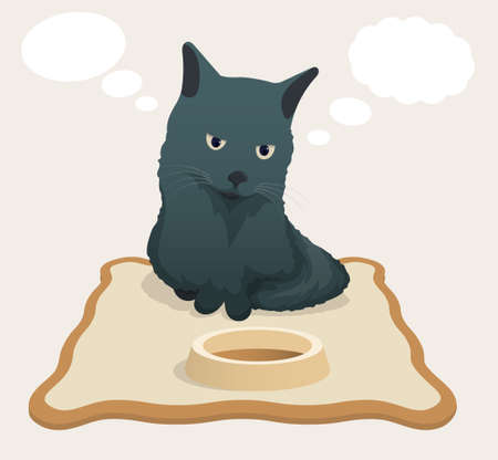 sad pensive cat sits on rug near empty bowl and dreams of food. Bubbles, clouds for text fly near head of gray cat. Cartoon vector