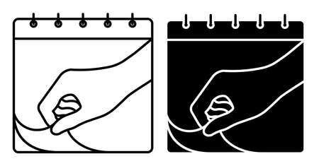 Linear icon. Hand tearing sheet of wall calendar. Marking days of week, months on calendar. Simple black and white vector Ilustrace