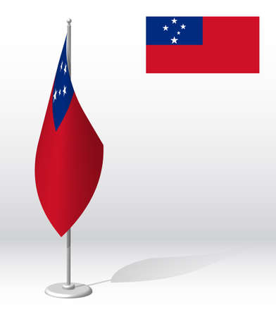 SAMOA flag on flagpole for registration of solemn event, meeting foreign guests. National independence day of SAMOA. Realistic 3D vector on white