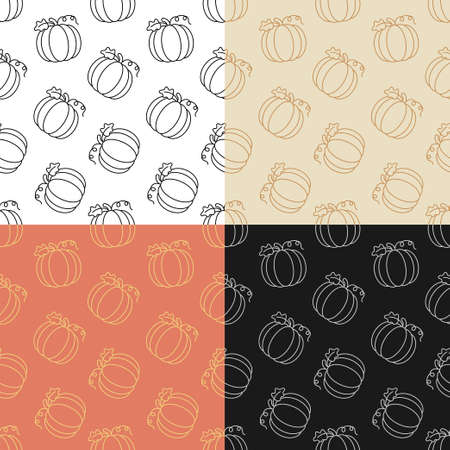 set of seamless patterns with Pumpkin fruit. Autumn harvesting. Autumn Halloween pumpkins. Ornament for decoration and printing on fabric. Design element. Vector