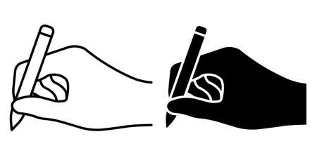 Linear icon. Ballpoint pen in hand of author. Signature on paper from writer or artist. Simple black and white vector isolated on white background