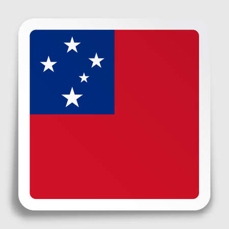 Samoa flag icon on paper square sticker with shadow. Button for mobile application or web. Vector Ilustrace