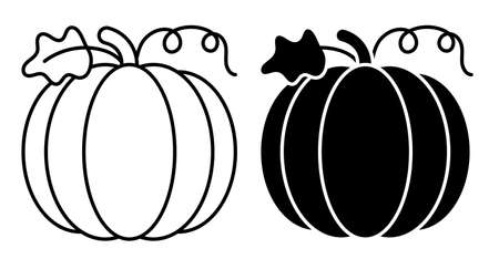 Linear icon. Pumpkin fruit. Autumn harvesting. Autumn Halloween pumpkins. Edible plants. Simple black and white vector isolated on white background