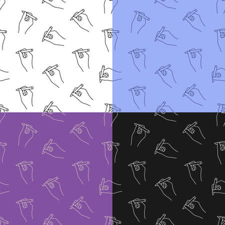 set of seamless patterns with Ballpoint pen in hand of author. Signature on paper from writer or artist. Ornament for decoration and printing on fabric. Design element. Vector Ilustrace