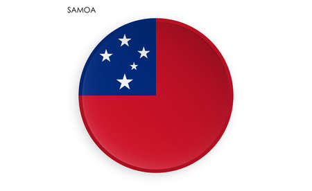 SAMOA flag icon in modern neomorphism style. Button for mobile application or web. Vector on white background