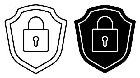 Linear icon. Locked padlock on background of shield. Reliable secure storage of information and property. Simple black and white vector isolated on white background