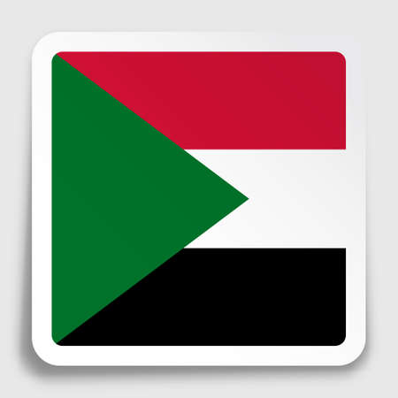 republic of Sudan flag icon on paper square sticker with shadow. Button for mobile application or web. Vector Ilustrace