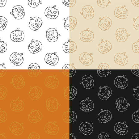 set of seamless patterns with smile Pumpkin fruit. Autumn Halloween pumpkins. Ornament for decoration and printing on fabric. Design element. Vector