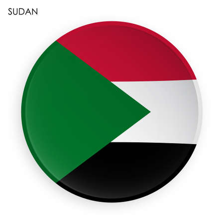 SUDAN flag icon in modern neomorphism style. Button for mobile application or web. Vector on white background