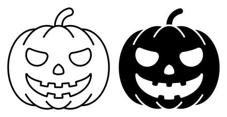 Linear icon. Spooky Pumpkin fruit. Autumn Halloween pumpkins. Simple black and white vector isolated on white background Ilustrace