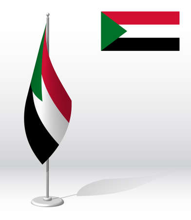 SUDAN flag on flagpole for registration of solemn event, meeting foreign guests. National independence day of SUDAN. Realistic 3D vector on white