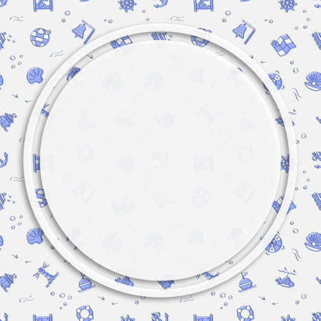 Circle frame, background on seamless pattern with doodle linear icons. Submarine, lifebuoy, buoy on waves, compass, map. Social media posting back