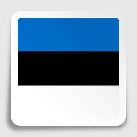 Estonian flag icon on paper square sticker with shadow. Button for mobile application or web. Vector