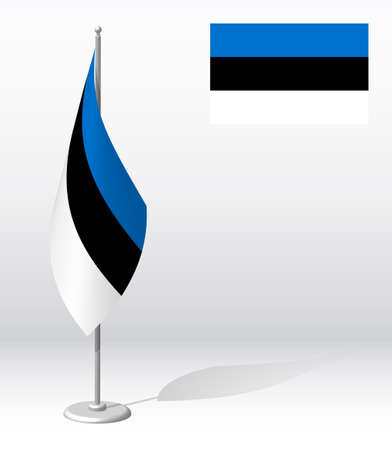 Estonia flag on flagpole for registration of solemn event, meeting foreign guests. National independence day of Estonia. Realistic 3D vector on white