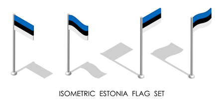 isometric flag of ESTONIA in static position and in motion on flagpole. 3d vector