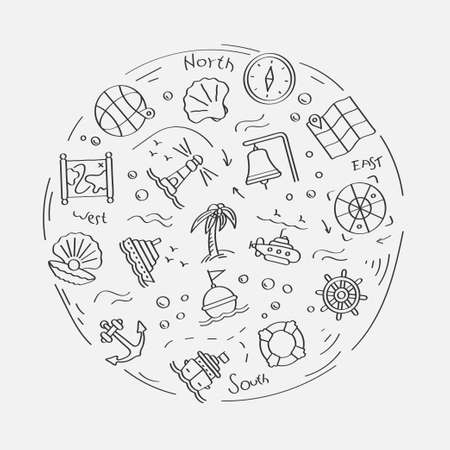 Set of doodle linear icons. Submarine, lifebuoy, buoy on waves, compass, map, shell, boat wheel, lighthouse, ship, anchor. Linear vector set
