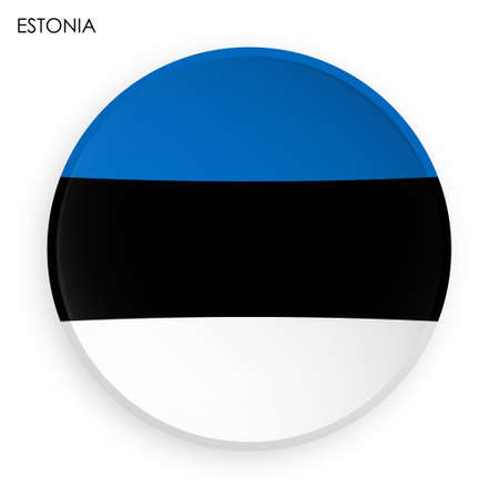 ESTONIA flag icon in modern neomorphism style. Button for mobile application or web. Vector on white background