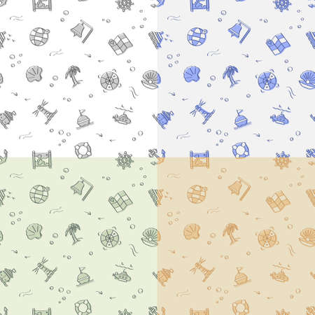set of seamless patterns with doodle linear icons. Submarine, lifebuoy, buoy on waves, compass, map. Ornament for decoration and printing on fabric. Design element. Vector Ilustrace