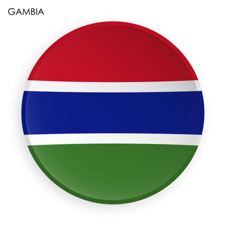 GAMBIA flag icon in modern neomorphism style. Button for mobile application or web. Vector on white background