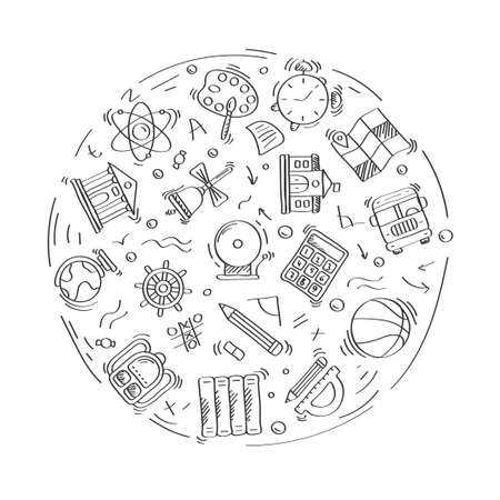 Set of doodle linear icons of education and School. Geography, globe, calculator, university, chemistry, bus, geometry. Linear vector set