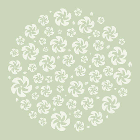 circle pattern with silhouettes of leaves and flowers. Ornament for decoration and printing on fabric. Design element. Vector